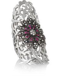 Ileana Makri | Shield Flower 18-karat White Gold, Diamond And Ruby Shield Ring | Lyst