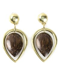 Vaubel | Brown Wood Drop Leaf Earrings | Lyst