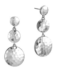 John Hardy - Metallic Palu Silver Triple Drop Linear Earrings - Lyst