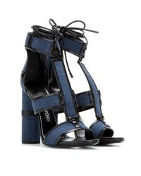 Tom Ford - Blue Patchwork Denim And Leather Sandals - Lyst