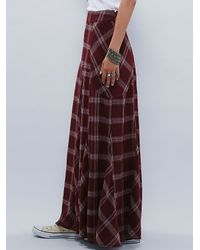 Free People - Purple Womens Mixed Plaid Maxi Skirt - Lyst
