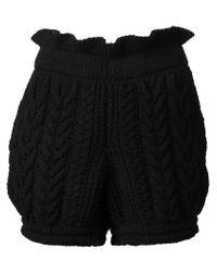 Vera Wang - Black Cable Knit Shorts - Lyst