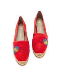 Giuseppe Zanotti - Red Embellished Espadrilles - Lyst