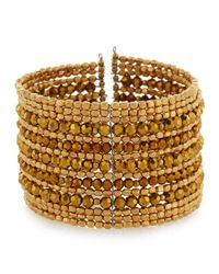 Nakamol - Metallic Golden Multi-row Beaded Wire Cuff Bracelet - Lyst