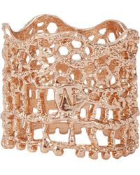Aurelie Bidermann | Metallic Rose Gold-Plated Lace Ring | Lyst