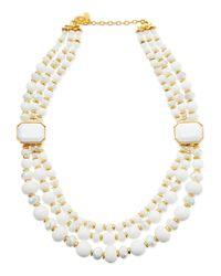 Jose & Maria Barrera - Metallic Triplestrand White Beaded Necklace - Lyst