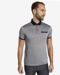 Ted Baker - Blue Contrast Collar Polo Shirt for Men - Lyst