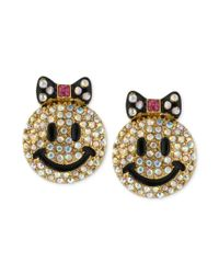 Betsey Johnson | Metallic Goldtone Crystal Smiley Face Stud Earrings | Lyst