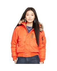 Polo Ralph Lauren | Orange Hooded Down Bomber Jacket | Lyst