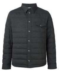 Moncler Gamme Bleu - Gray Padded Buttoned Jacket for Men - Lyst