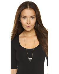 Michael Kors | Metallic Pave Triangle Pendant Necklace - Gold/Clear | Lyst
