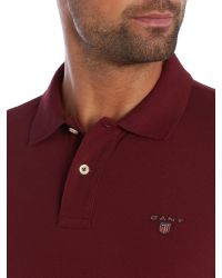 GANT | Red Pique Polo Shirt for Men | Lyst