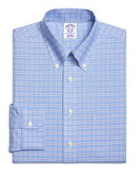 Brooks Brothers - Blue Non-iron Slim Fit Brookscool® Ground Check Dress Shirt for Men - Lyst
