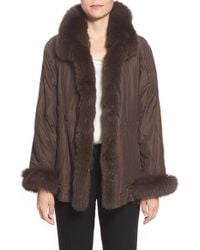 George Simonton | Brown Reversible Silk & Genuine Fox Fur Topper | Lyst