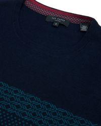 Ted Baker | Blue Jacquard Pattern Jumper for Men | Lyst