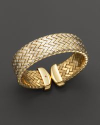 Roberto Coin | Metallic 18K Yellow Gold Plated Sterling Silver Woven Cuff | Lyst