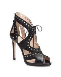 Miu Miu | Black Leather Grommet Laceup Sandals | Lyst