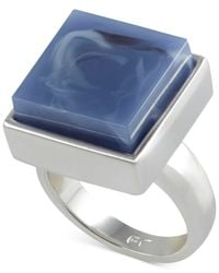 French Connection | Blue Silver-Tone Large Square Stone Ring | Lyst