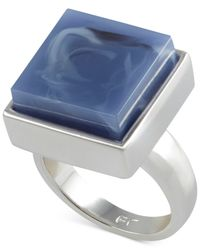 French Connection - Blue Silver-Tone Large Square Stone Ring - Lyst