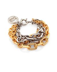 Giles & Brother | Metallic Two-Tone PavÉ Multi-Chain Bracelet | Lyst