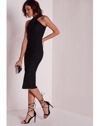 Missguided - Textured Midi Dress Black - Lyst