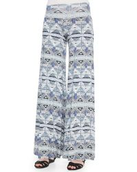 Rachel Pally - Blue Stencil-print Wide-leg Trousers - Lyst