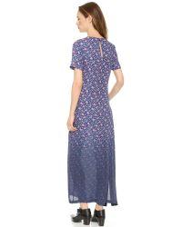 Band of Outsiders - Dip Dye Mini Rose Silk Maxi Dress Bluepink - Lyst