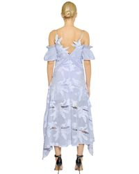 Self-Portrait - Blue Embroidered Cold-Shoulder Midi Dress - Lyst