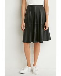 Forever 21 - Black Faux Leather A-line Skirt - Lyst