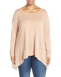 Eileen Fisher | Pink Ballet Neck Merino Wool Tunic Sweater | Lyst