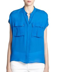VINCE | Blue Silk Cap-sleeve Blouse | Lyst