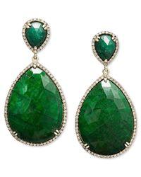 Macy's | 14k Gold Earrings, Dyed Green Corundum Sapphire (65 Ct. T.w.) And Diamond (3/4 Ct. T.w.) Teardrop Earrings | Lyst