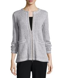 Eileen Fisher - Gray Twisted Two-Zip Jacket - Lyst