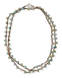 An Old Soul | Multicolor Striped Amazonite & Crystal Long Necklace | Lyst