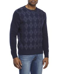 Izod | Blue Textured Argyle Sweater for Men | Lyst