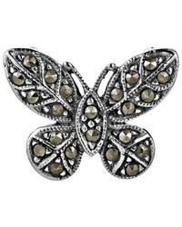 Aeravida | Metallic Vibrant Marcasite Butterfly Slide Sterling Silver Pendant | Lyst