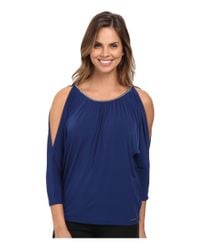 MICHAEL Michael Kors | Blue Chain Neck Cold Shoulder Top | Lyst