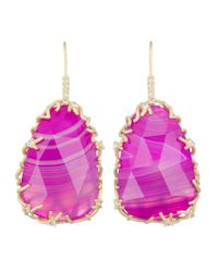 Kendra Scott - Pink Large Branch-Bezel Drop Earrings - Lyst