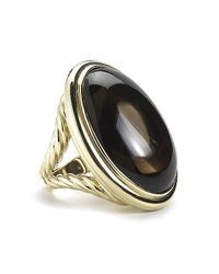 David Yurman | Black Pre-owned Oval Smoky Quartz Cocktail Ring in 18ky | Lyst