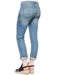 Rag & Bone - Blue The Dre Faded Distressed Cuffed Jeans - Lyst