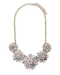 Forever 21 | Metallic Bejeweled Floral Necklace | Lyst