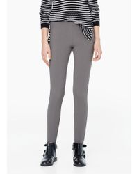 Mango - Gray Stripe Textured Leggings - Lyst