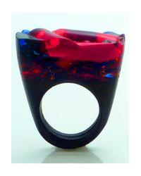 Pasionae | Black Murano Ring Opaque Base- Lust | Lyst