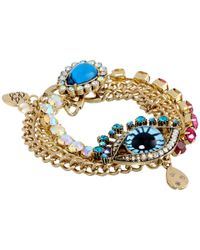Betsey Johnson - Multicolor The Eyes Have It Blue Eye Chain Clasp Bracelet - Lyst