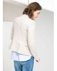 Mango - White Essential Cotton Blend Blazer - Lyst