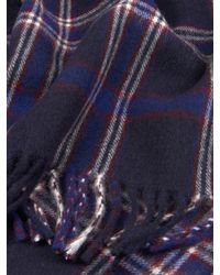 Dunhill - Blue Check Wool And Cashmere-blend Scarf for Men - Lyst