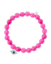 Sydney Evan   Purple 8Mm Faceted Fuchsia Agate Beaded Bracelet With 14K White Gold/Diamond Love Charm (Made To Order)   Lyst