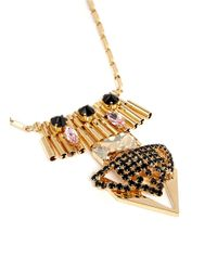 Iosselliani | Multicolor Multi Crystal Metal Plastron Necklace | Lyst