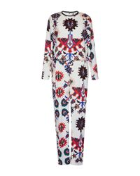 MSGM | White Mechanic Flower Print Jumpsuit | Lyst