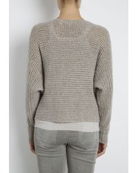 INHABIT   Gray Cashmere Chainette Crochet Dolman Pullover   Lyst